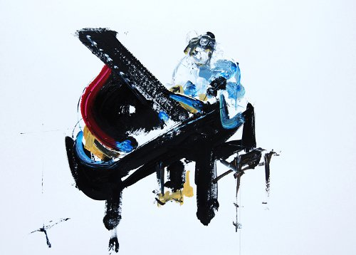 "ANDREW McCORMACK, JAZZ IN THE ROUND @ THE COCKPIT - MONDAY 27th FEB acrylic on museum mountboard 32x44"" - (C) Gina Southgate"